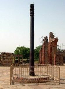 This pillar is also known as Ashokan pillar and is present in Delhi, India. It was made in about 912 BCE. It is 7 m high. This pillar is of great interest to people because of the fact that it is extremely resistant to corrosion. Weathering and harsh, alternating dry and wet conditions do not affect this pillar. It does not even rust. This is because of its curious chemical metallic nature. Its metal is supposed to have many impurities, which impart this amazing quality to this pillar.
