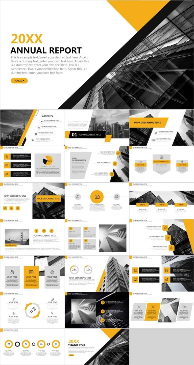Simple yellow report PowerPoint template  - Pcslide.com #powerpoint