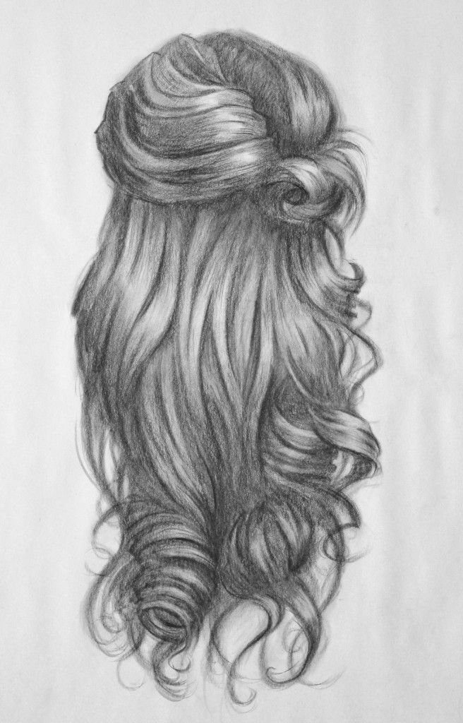How To Draw Curls Pic Of Wavy And Curly Head Back Side Beauty Art Drawings