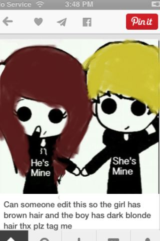 can someone make this with the girl has red bangs and black hair and the boy has brown hair please tag me