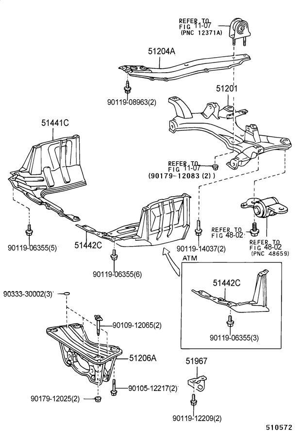 suspension crossmember  u0026 under cover 1998 toyota rav 4