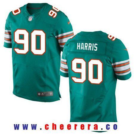 c213a92ab Men s 2017 NFL Draft Miami Dolphins  90 Charles Harris Aqua Green Alternate Stitched  NFL Nike Elite Jersey