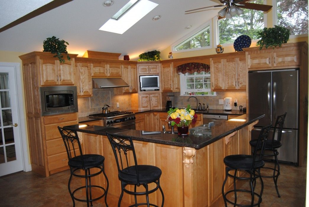 Kitchen Design Ideas With Cherry Cabinets kitchen design ideas vaulted ceiling cherry cabinets with granite