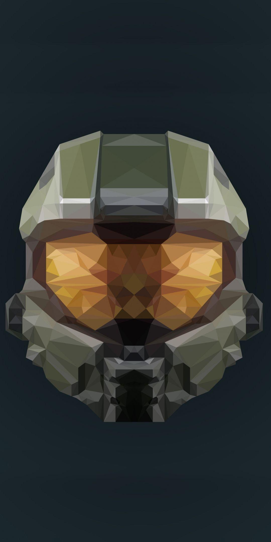 Helmet Halo Infinite Artwork Low Poly 1080x2160