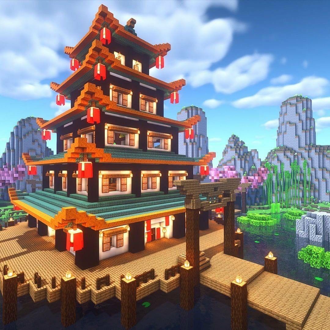 Beautiful Japanese Minecraft Temple in 2020   Minecraft ...