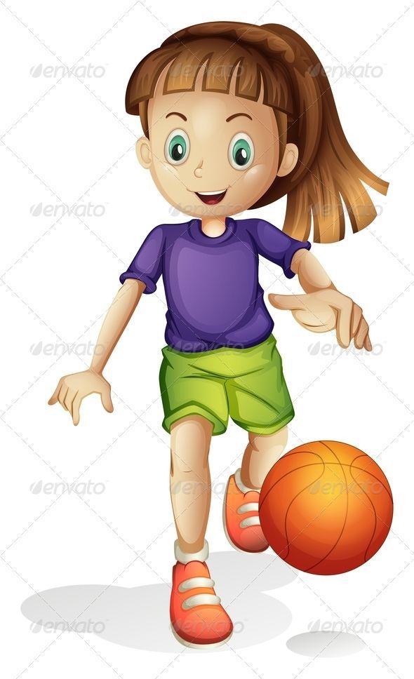 Girl Playing Basketball Girl Cartoon Cartoon Kids Kids Clipart