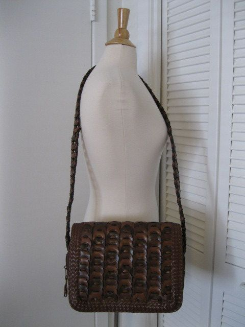 Vintage Another Y And S Original Brown Woven Faux Leather Shoulder Bag by GoodBuyForNow on Etsy