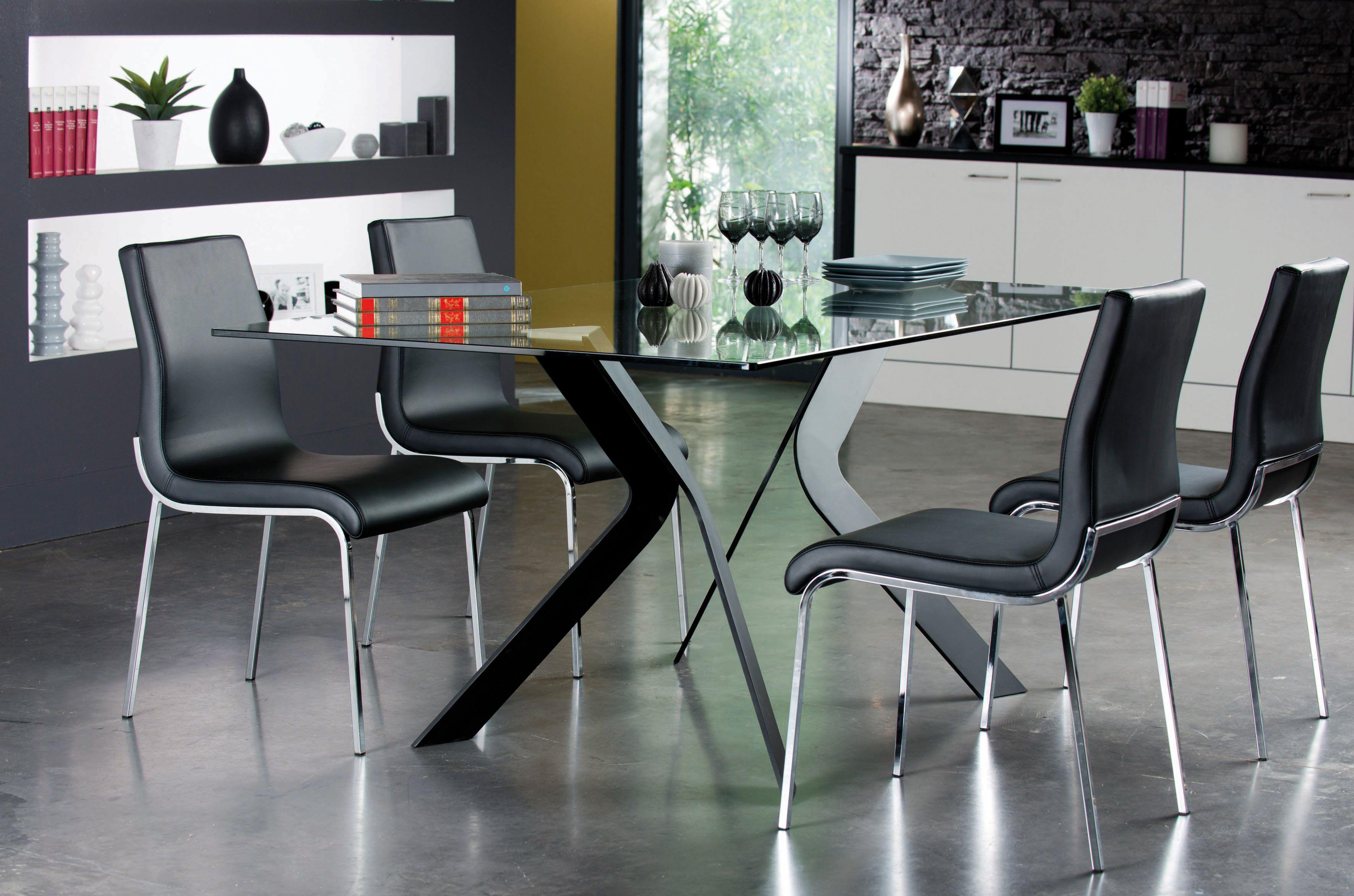 Table de repas design pieds métal et plateau verre