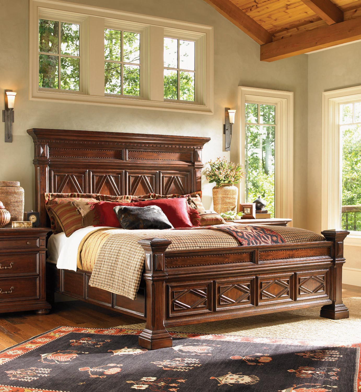 Fieldale Lodge Pine Lakes Bedroom Set In Mahogany Brown