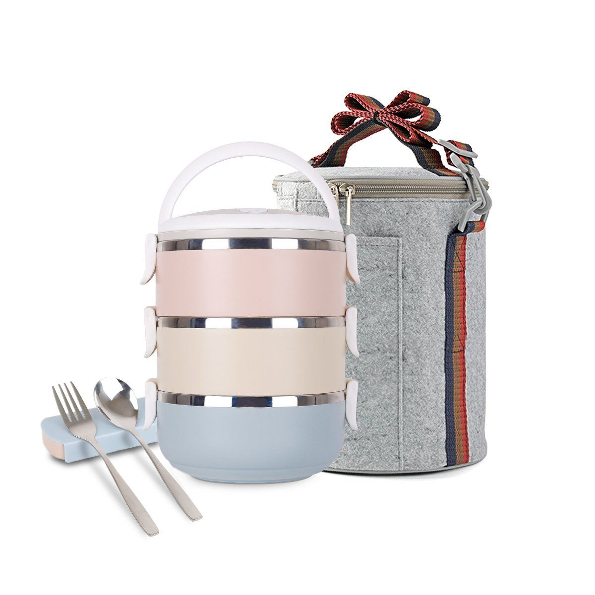 Stainless Steel Square Lunch Box,Insulated Lunch Bags Set,Spoon and fork Set Heat//Lock Container and Insulated Lunch Bag for Adult and Office 3-Tier