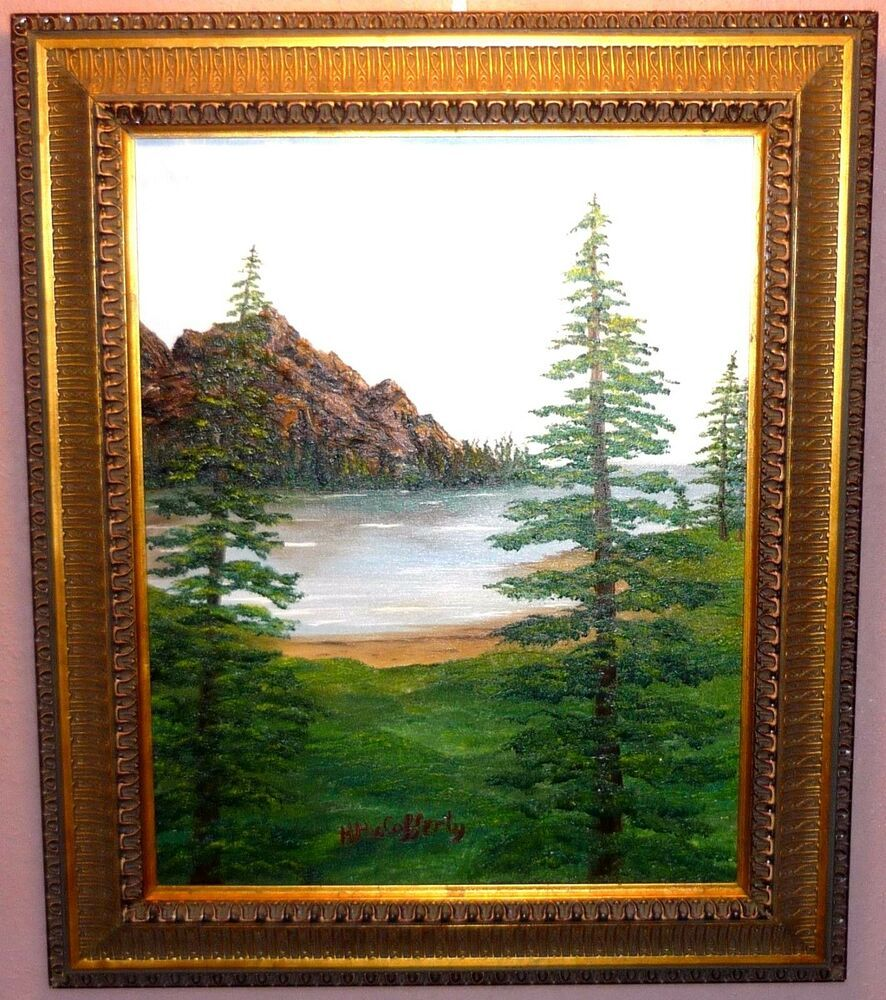 oil painting original Whispering Pines Nature Signed N McCafferty size 16x20 #Realism