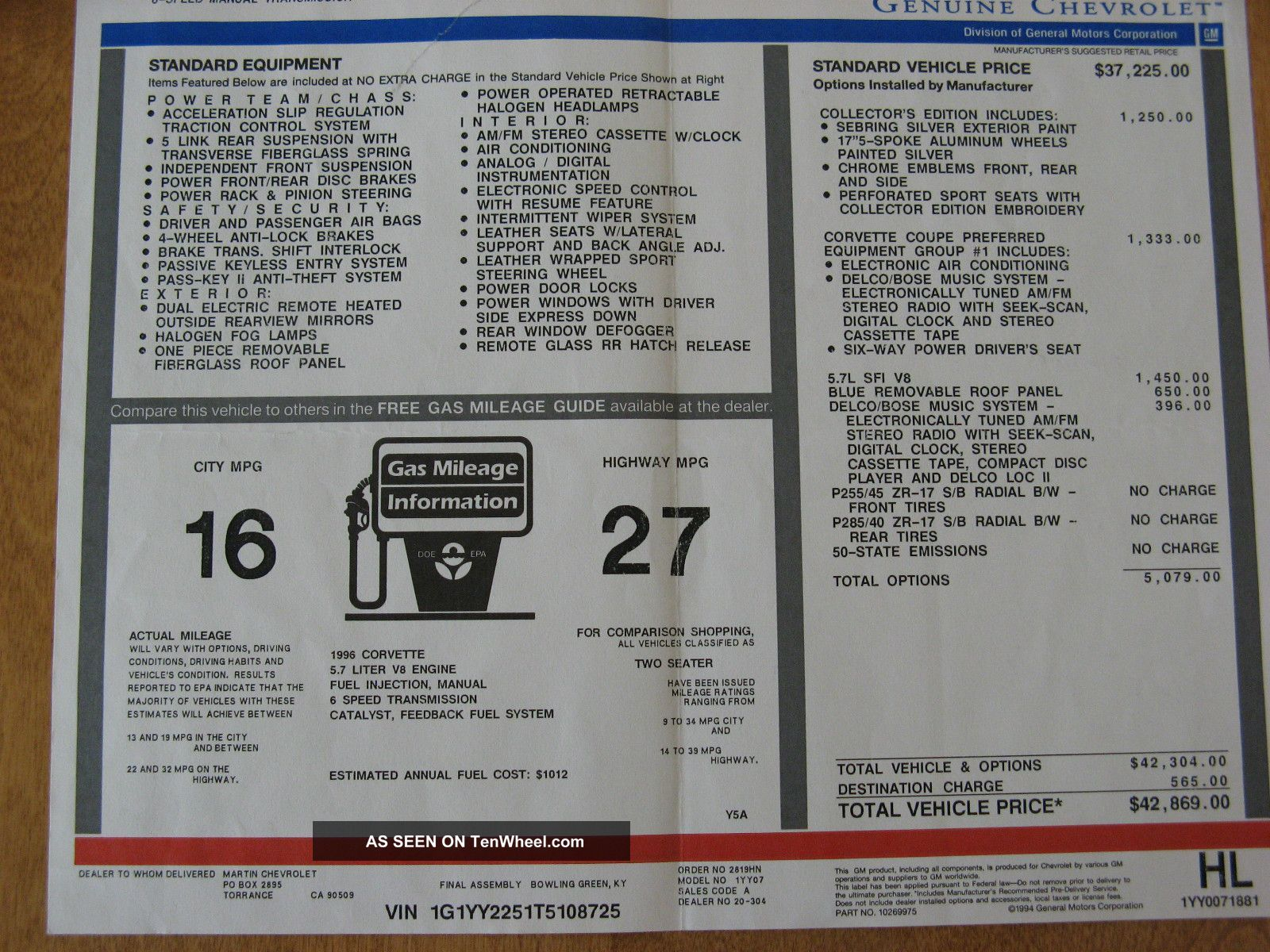 1996 Lt4 Collector Edition Window Sticker 42 869 In 1996 Is