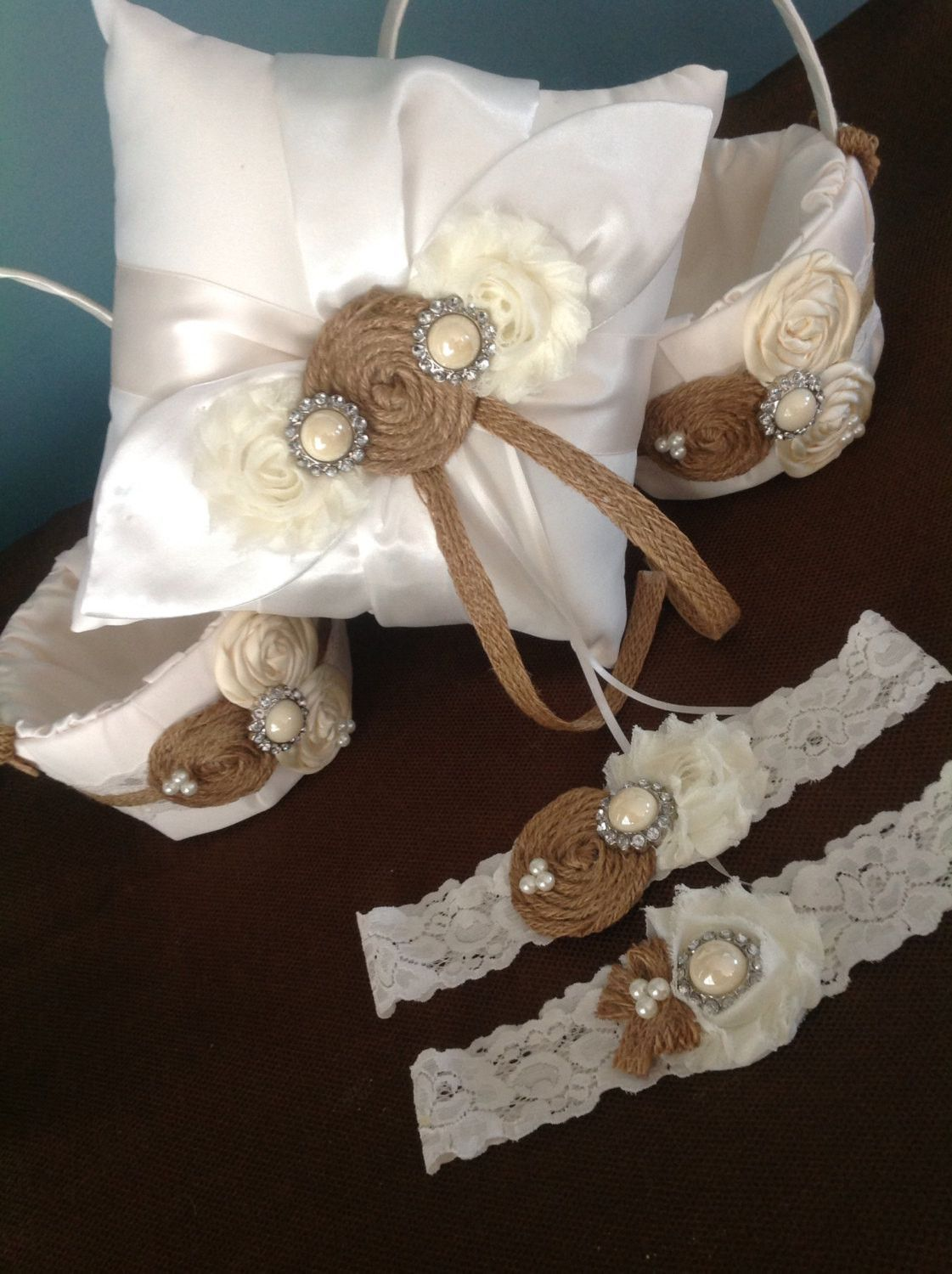 Deluxe rustic burlap wedding set - 2 flower girl baskets , 1 ring bearer pillow , vintage lace wedding garter