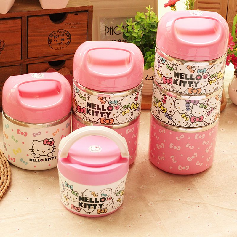 b3db67cbc9e8 Cute Hello Kitty Stainless Steel Insulation Lunch Box Outdoor ...