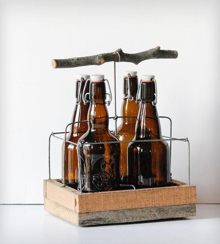 Handmade Twig Handle Beer Tote - 4 Bottle | Frick and Frack Scraps | Scoutmob Shoppe