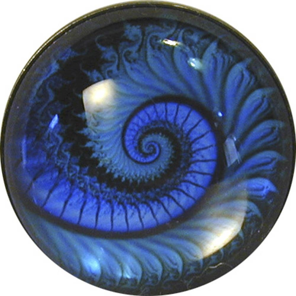 Crystal Dome Button Mystical Spiral #1 Lg Sz 1 & 3/8""