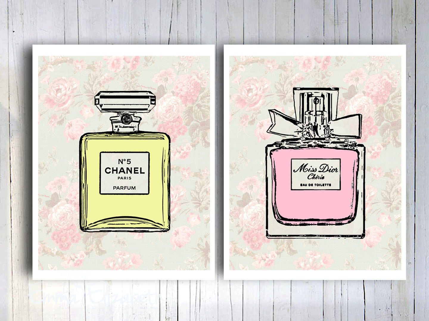French Perfume Cottage Chic Wall Decor Mixed Media Vintage Pink
