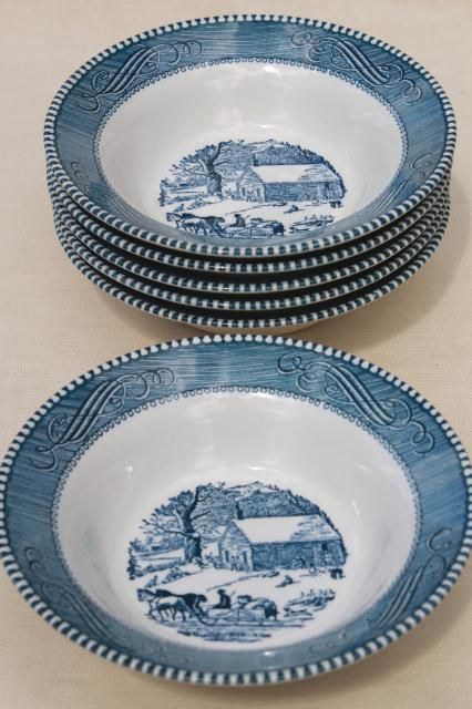 Blue Vintage-Royal China Currier and Ives Dinnerware Coffee//Tea Cup