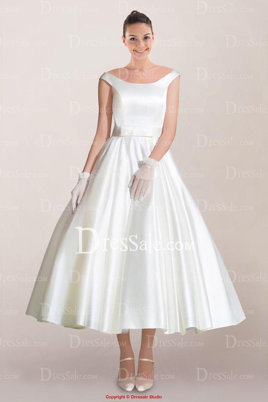 Off the shoulder tea length wedding dress  I like this  Weddings  Pinterest  Satin sash Tea length and