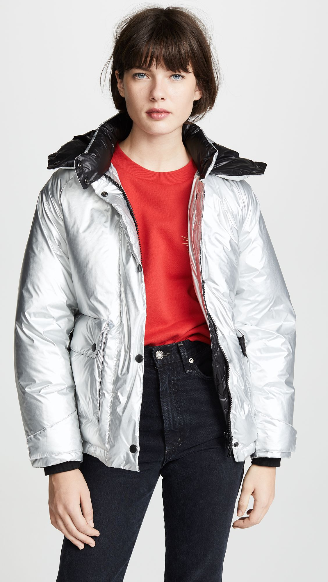 Puffa Men/'s Aiden Hooded Winter Padded Parka Coat Black