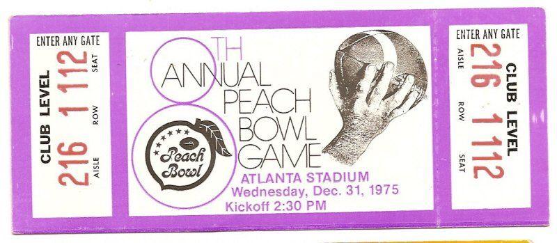 1975 peach bowl unused ticket west virginia nc state
