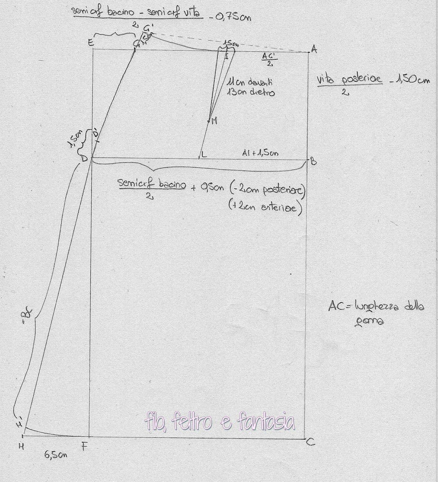 new product f5cde 357e3 05 - Modello base della gonna svasata | Filo, feltro e ...