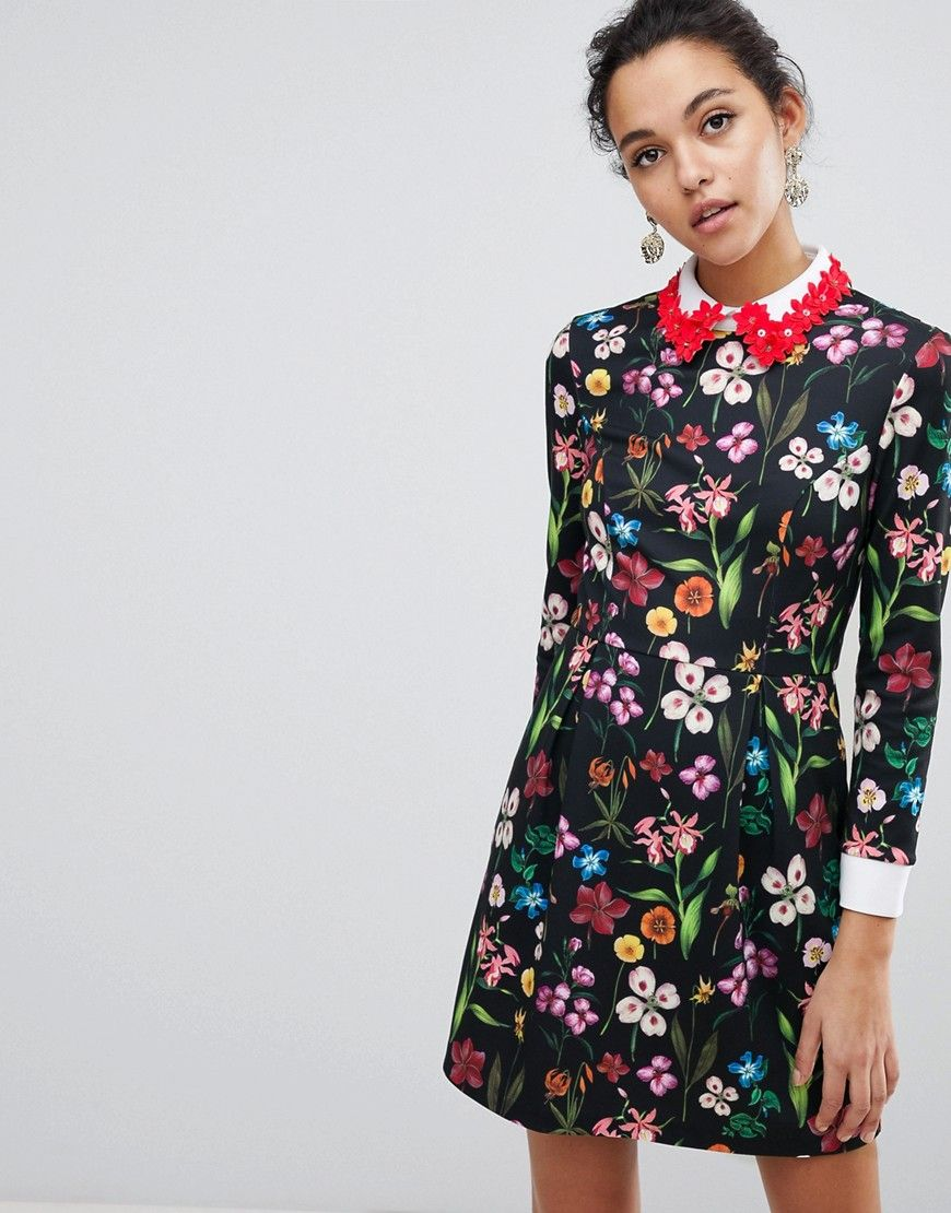 Tillena Skater Dress With Embellished Collar - Multi | Excuse my ...