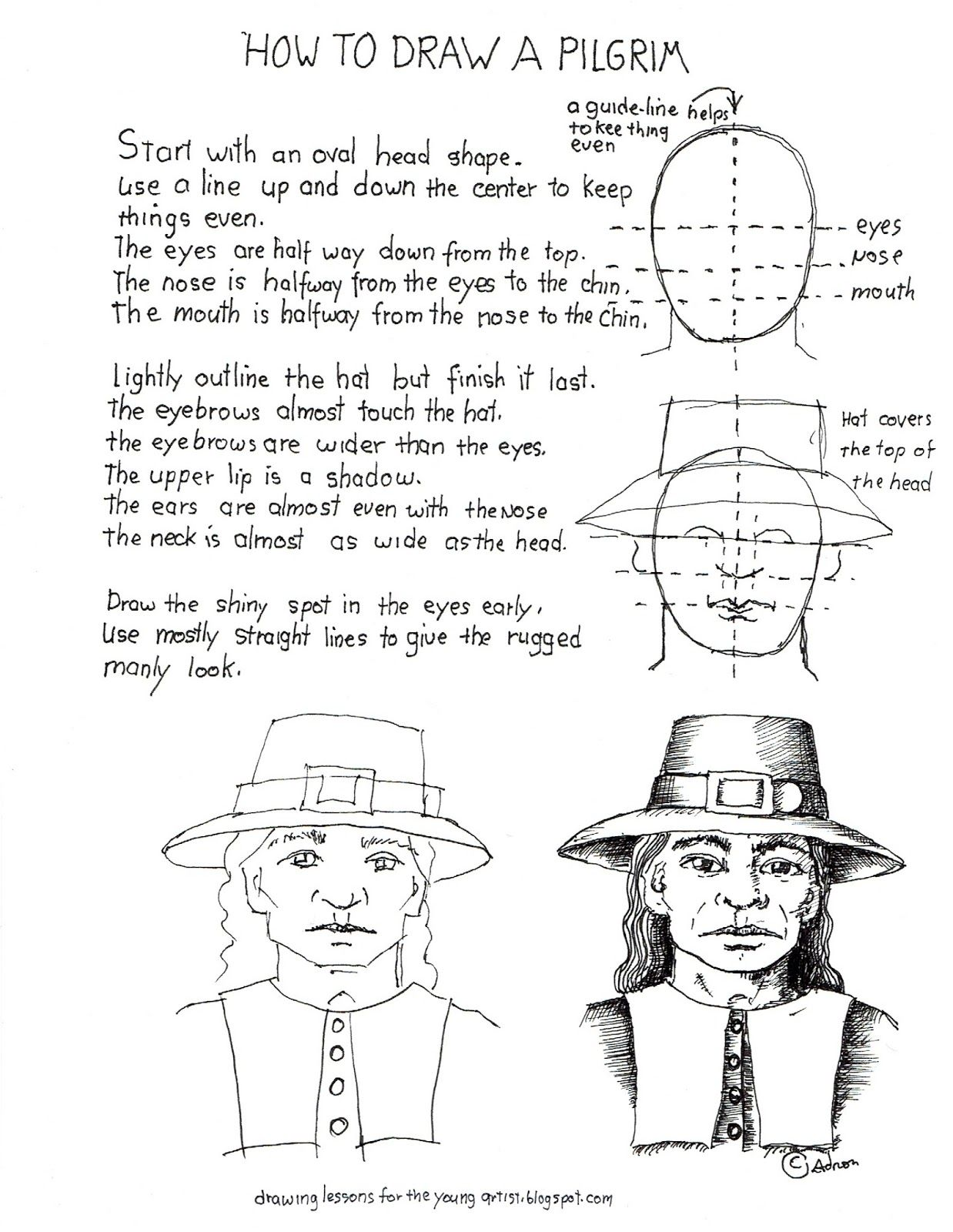 How To Draw A Pilgrim Man S Face Worksheet
