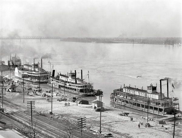 Historic Memphis Cobblestone Landing And Riverfront 3 Steamers 1900