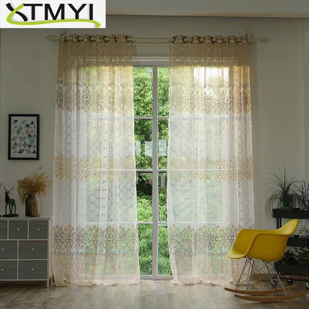 Modern Curtain Designs For Living Room Luxury Floral Sheer Tulle Window Curtains For Living Room Th Tirai Ruang Tamu Ide Ruang Tamu Modern Ruang Keluarga Mewah Living room curtains fabric