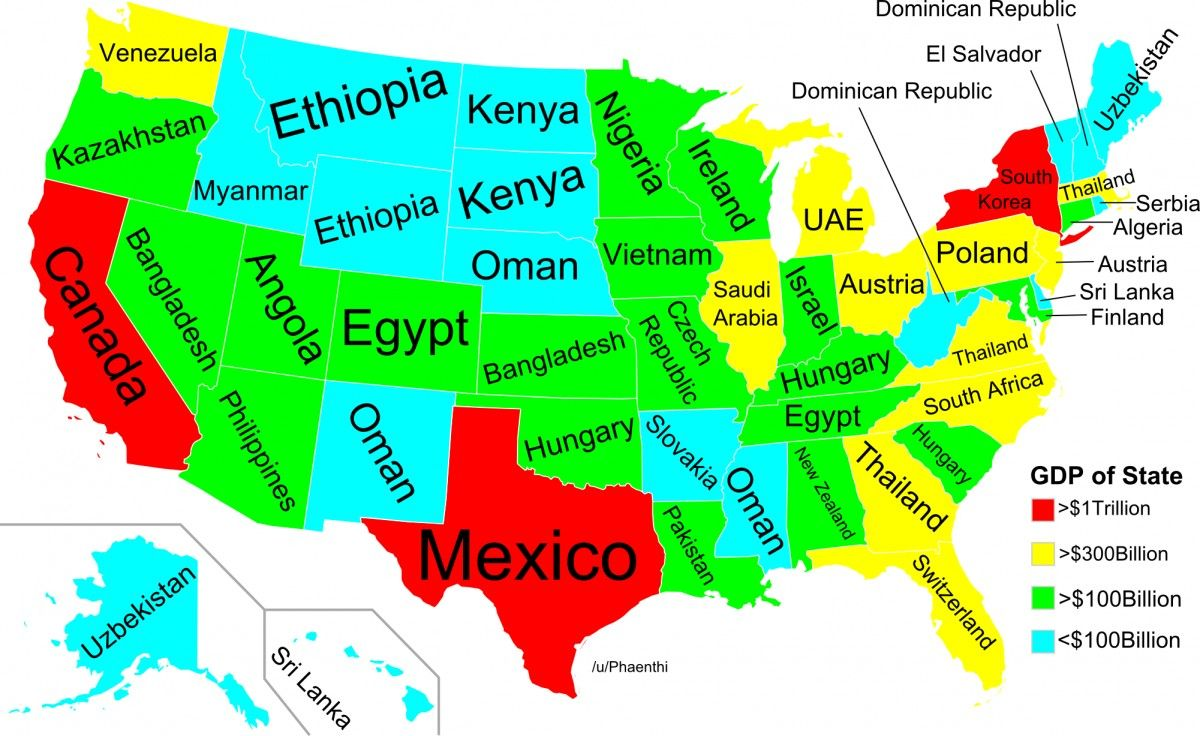 MAP How the GDP of US States Compares to Countries Around the