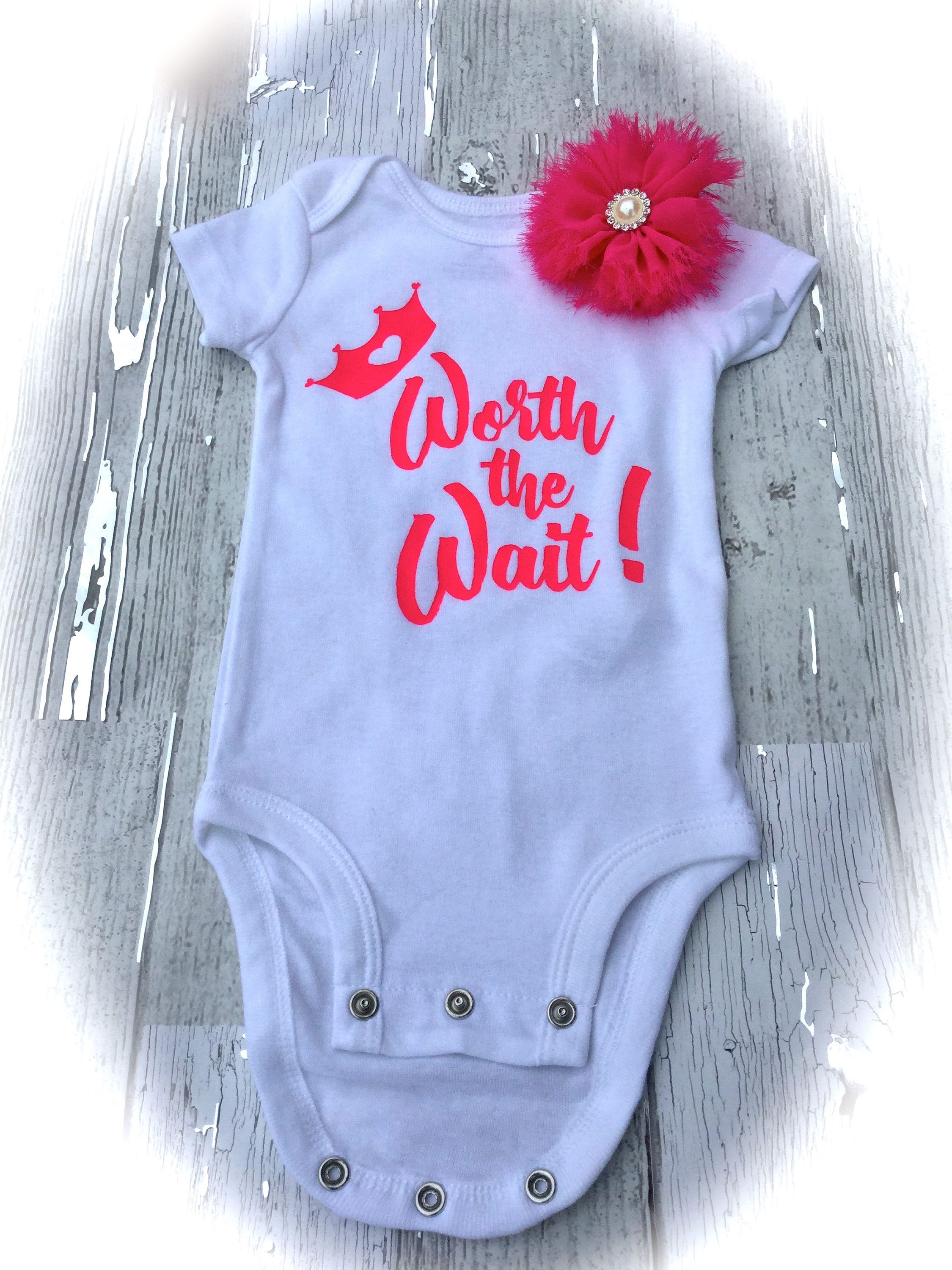 133b25e74 Baby Girl Onesie Worth The Wait  Baby Shower Gift  white and Pink ...