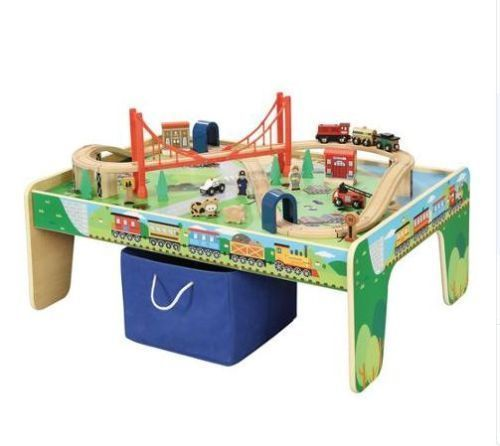 Wooden 50 Piece Train Set & Small Table Drawing Playing With Blocks Storage Bin #Maxim
