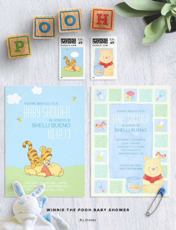 Winnie the Pooh Baby Shower Invitations and postage in pastel colors ...