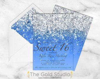 printable sweet 16 invitation blue glitter sweet by thegoldstudio
