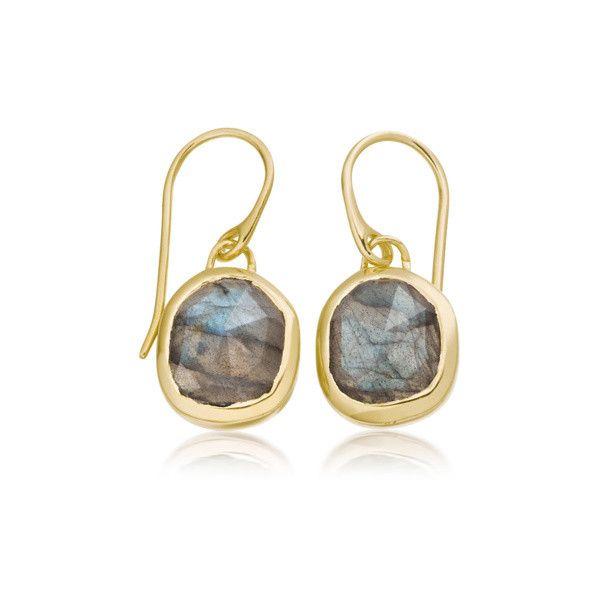 Siren Labradorite Wire Earrings, Rose Gold Vermeil on Silver Monica Vinader