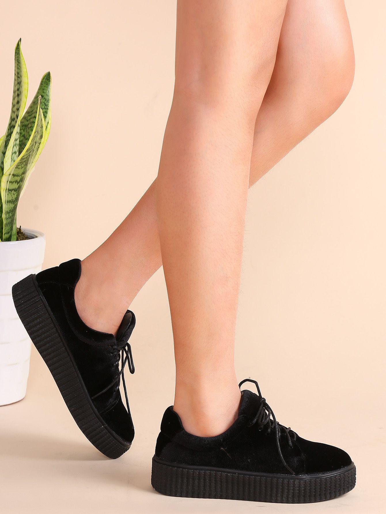 7b4d916aec6b Shop Black Lace Up Velvet Platform Shoes online. SheIn offers Black Lace Up  Velvet Platform Shoes   more to fit your fashionable needs.