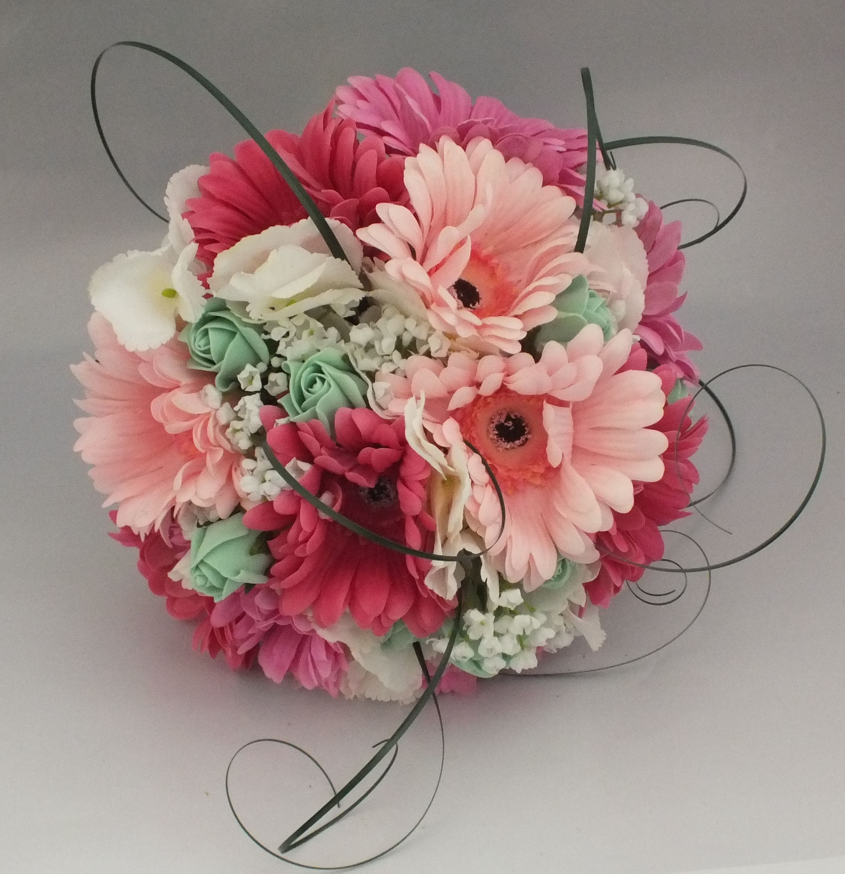 Mixed gerbera, rose bud, gyp bouquet posy. Pink and mint green ...