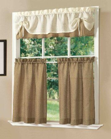 Amazon.com   Lucia Kitchen Curtain Set (Burgundy)