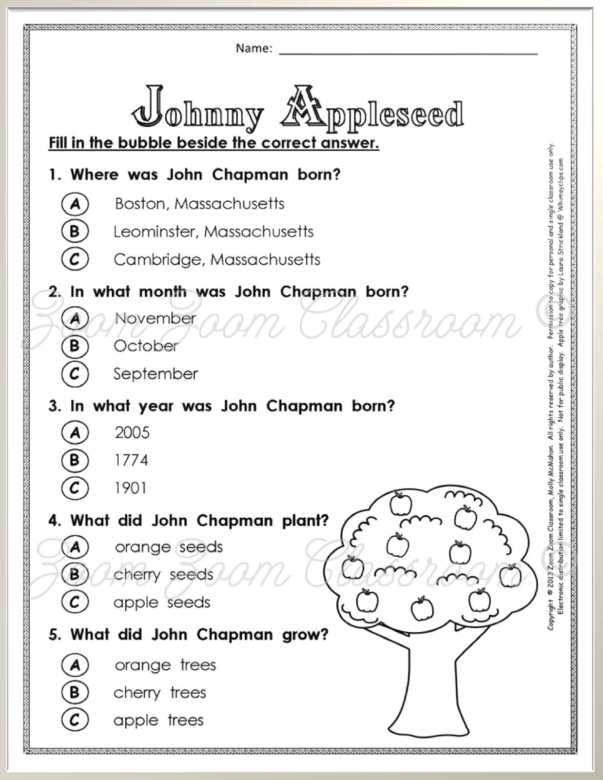 Johnny Appleseed Worksheets For 2nd Grade Livinghealthybulletin