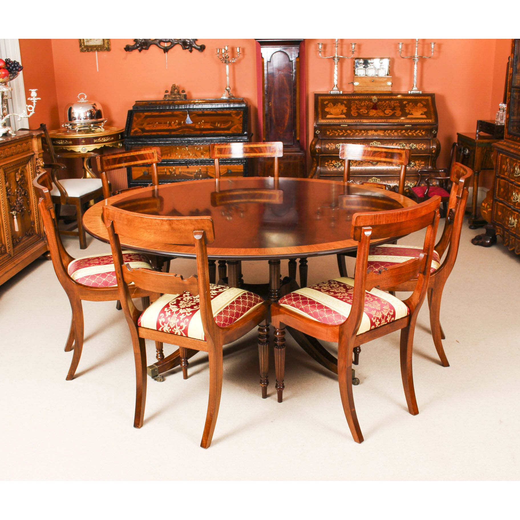 Vintage 5ft 6 Round Table By Millwood 6 Dining Chairs 20th