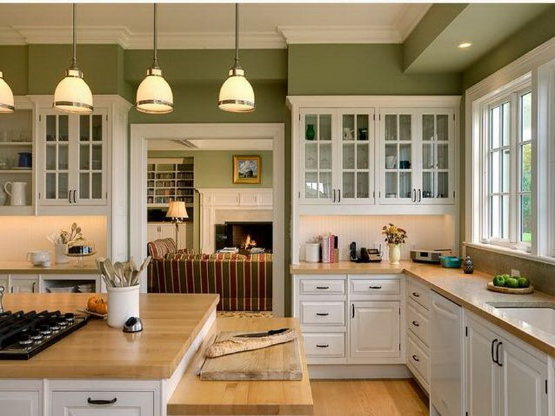 Green Painted Kitchen Cabinets good colors for kitchen walls with oak cupboards | green cabinets