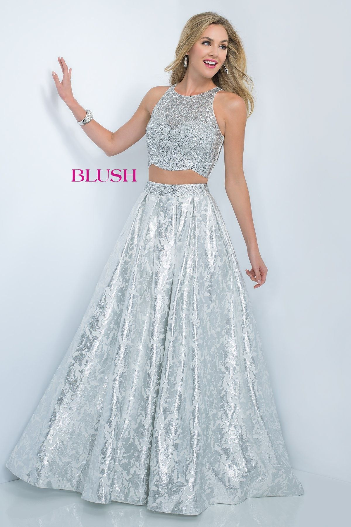 Blush Prom 5508 Off White/Silver Two Piece Ball Gown Prom Dress ...
