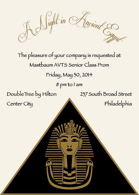 Egyptian Prom Invitation 1 In 2019 Egyptian Exhibition