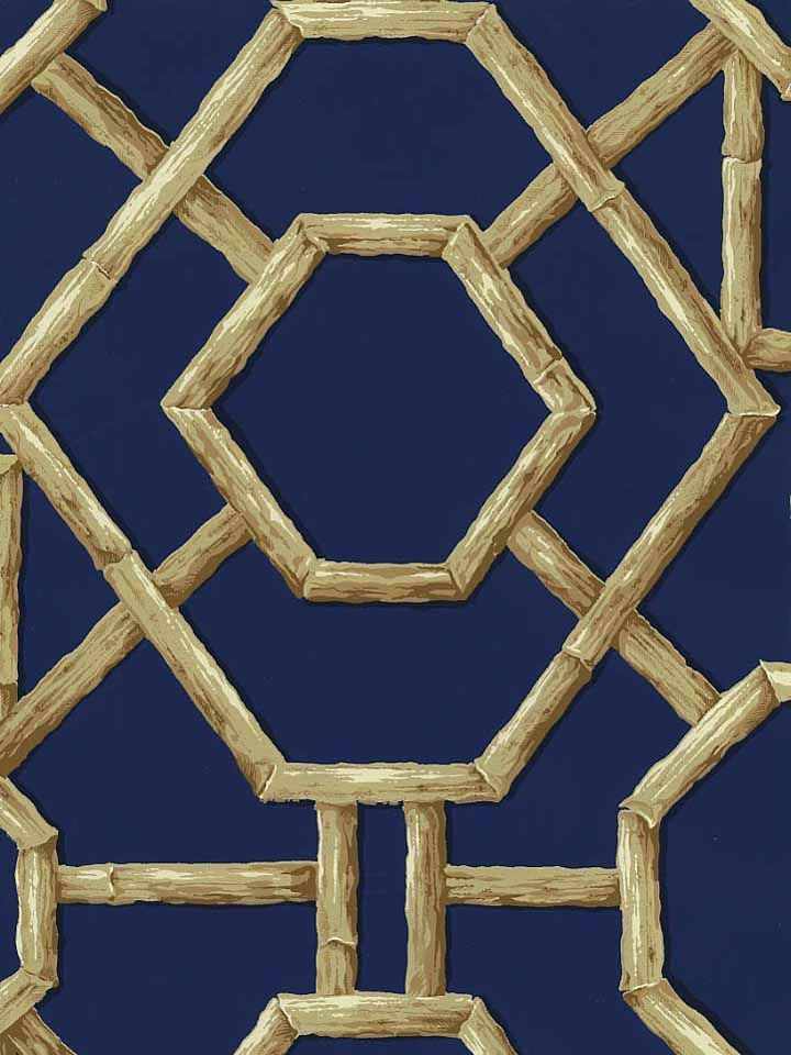 Bamboo Lattice Wallpaper In Navy Americanblinds Com