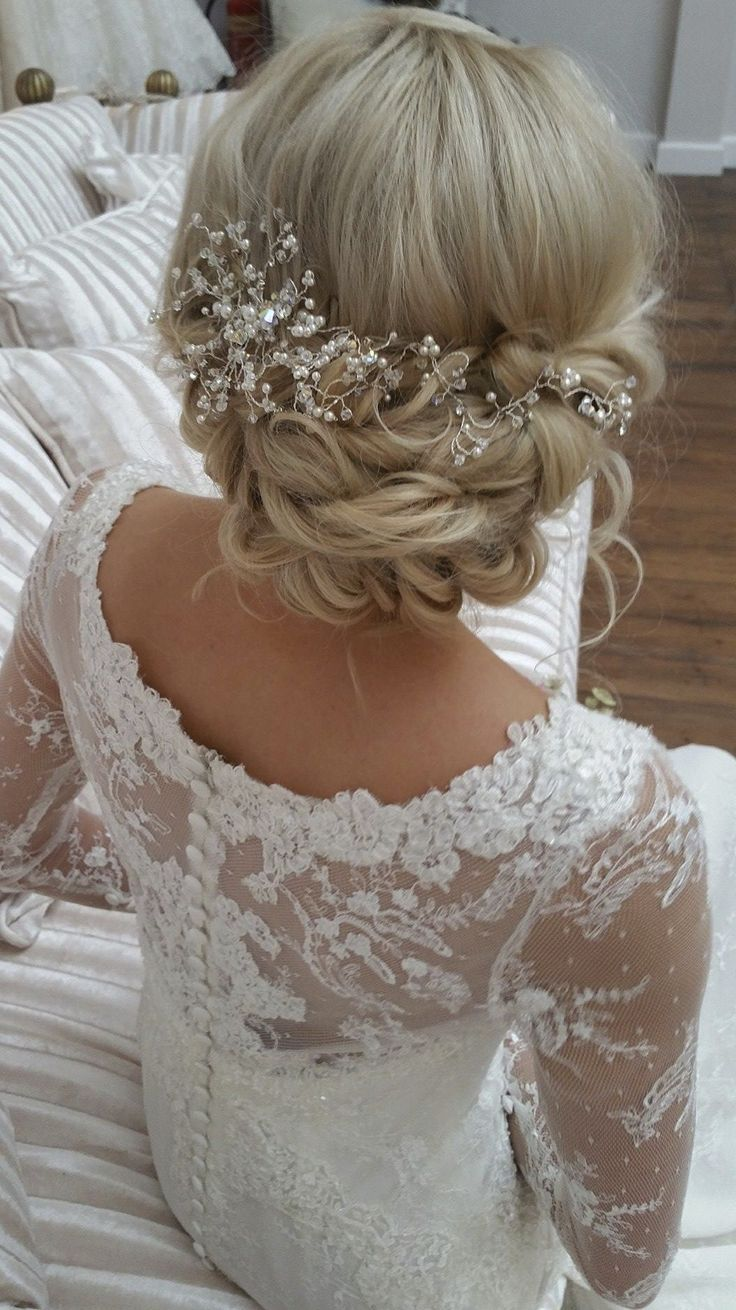 bridal up hairstyle inspiration with jewelled hair piece