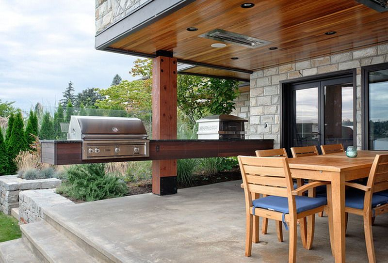 Contemporary Floating Outdoor BBQ Kitchen Counter Design