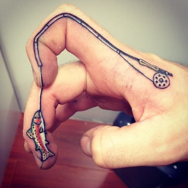 Fishing Pole Heart Tattoo