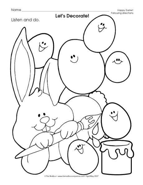 3's listen and color Easter worksheets, Kids rugs, Easter