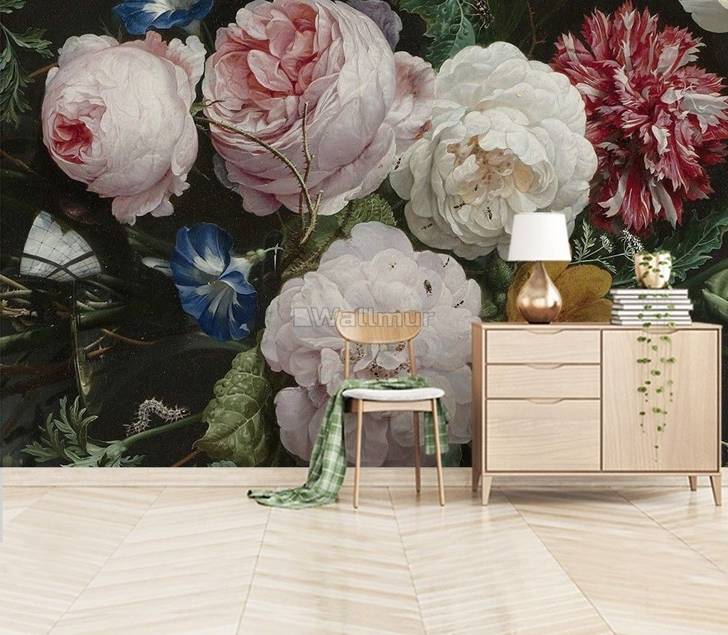 Dutch Floral Victorian Flower Bouqet Wallpaper Mural in